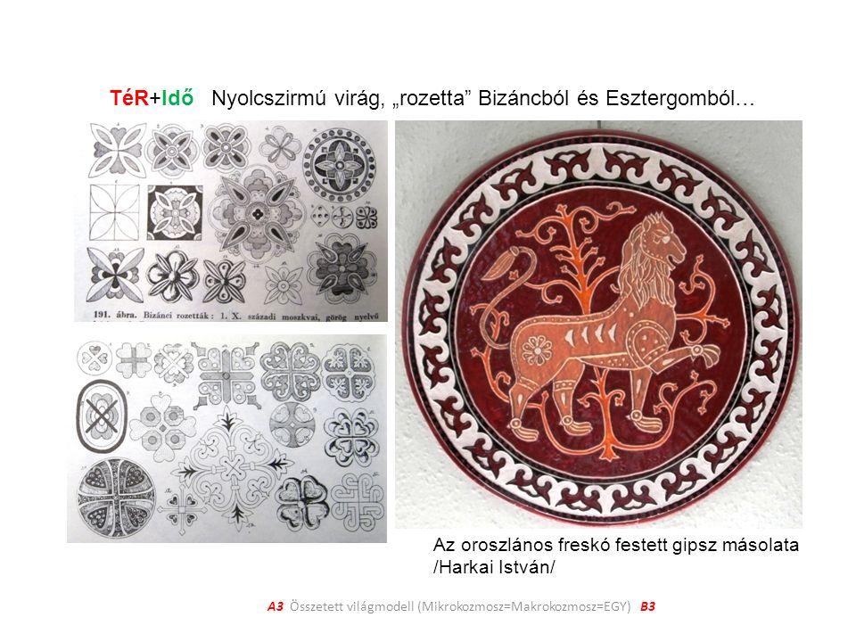 """A3 Összetett világmodell (Mikrokozmosz=Makrokozmosz=EGY) B3 TéR+Idő Nyolcszirmú virág, """"rozetta Bizáncból és Esztergomból… Az oroszlános freskó festett gipsz másolata /Harkai István/"""