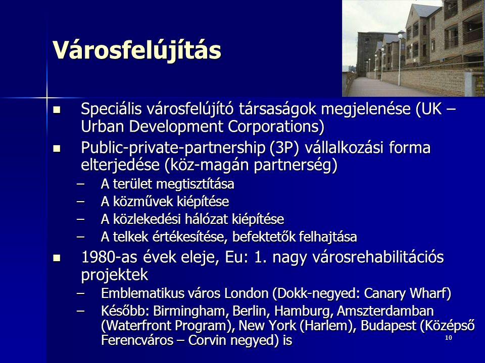 10Városfelújítás Speciális városfelújító társaságok megjelenése (UK – Urban Development Corporations) Speciális városfelújító társaságok megjelenése (UK – Urban Development Corporations) Public-private-partnership (3P) vállalkozási forma elterjedése (köz-magán partnerség) Public-private-partnership (3P) vállalkozási forma elterjedése (köz-magán partnerség) –A terület megtisztítása –A közművek kiépítése –A közlekedési hálózat kiépítése –A telkek értékesítése, befektetők felhajtása 1980-as évek eleje, Eu: 1.