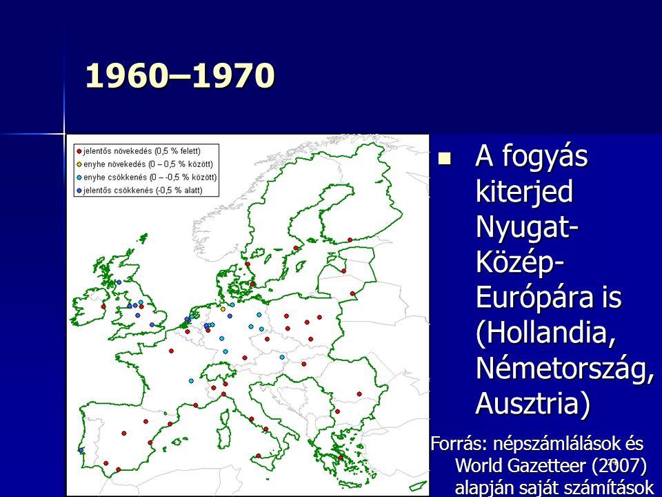 24 1960–1970 A fogyás kiterjed Nyugat- Közép- Európára is (Hollandia, Németország, Ausztria) A fogyás kiterjed Nyugat- Közép- Európára is (Hollandia, Németország, Ausztria) Forrás: népszámlálások és World Gazetteer (2007) alapján saját számítások