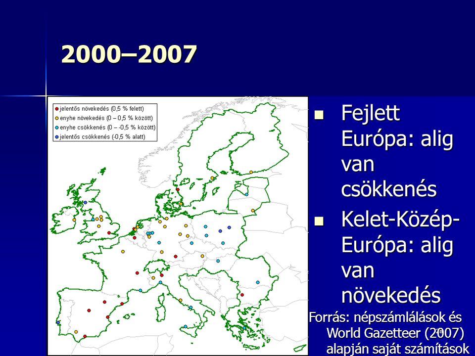 28 2000–2007 Fejlett Európa: alig van csökkenés Fejlett Európa: alig van csökkenés Kelet-Közép- Európa: alig van növekedés Kelet-Közép- Európa: alig van növekedés Forrás: népszámlálások és World Gazetteer (2007) alapján saját számítások