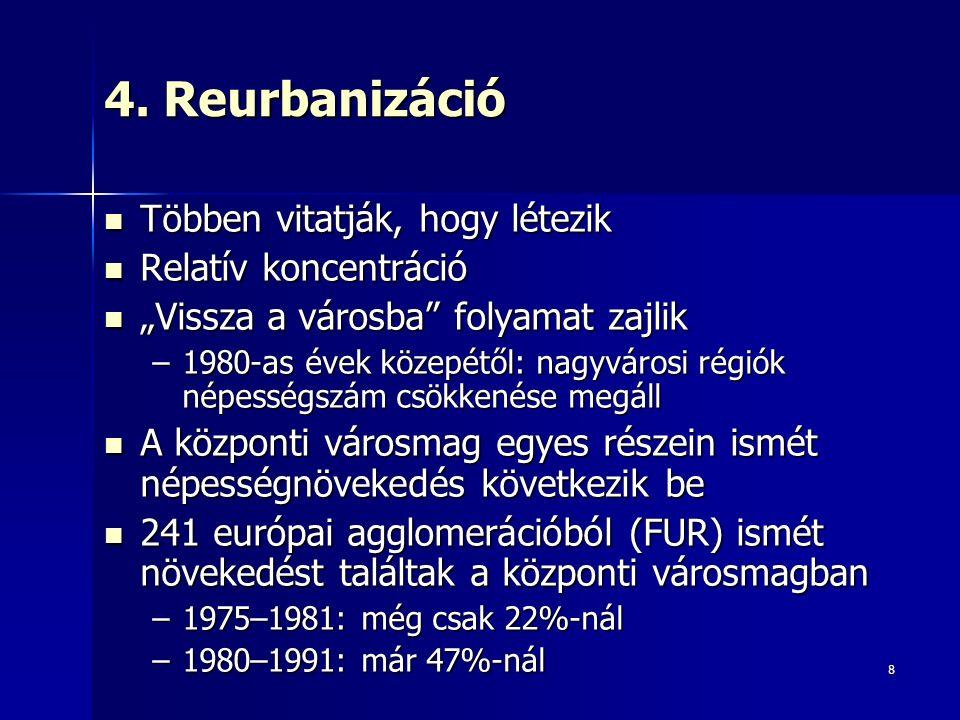 """8 4. Reurbanizáció Többen vitatják, hogy létezik Többen vitatják, hogy létezik Relatív koncentráció Relatív koncentráció """"Vissza a városba"""" folyamat z"""