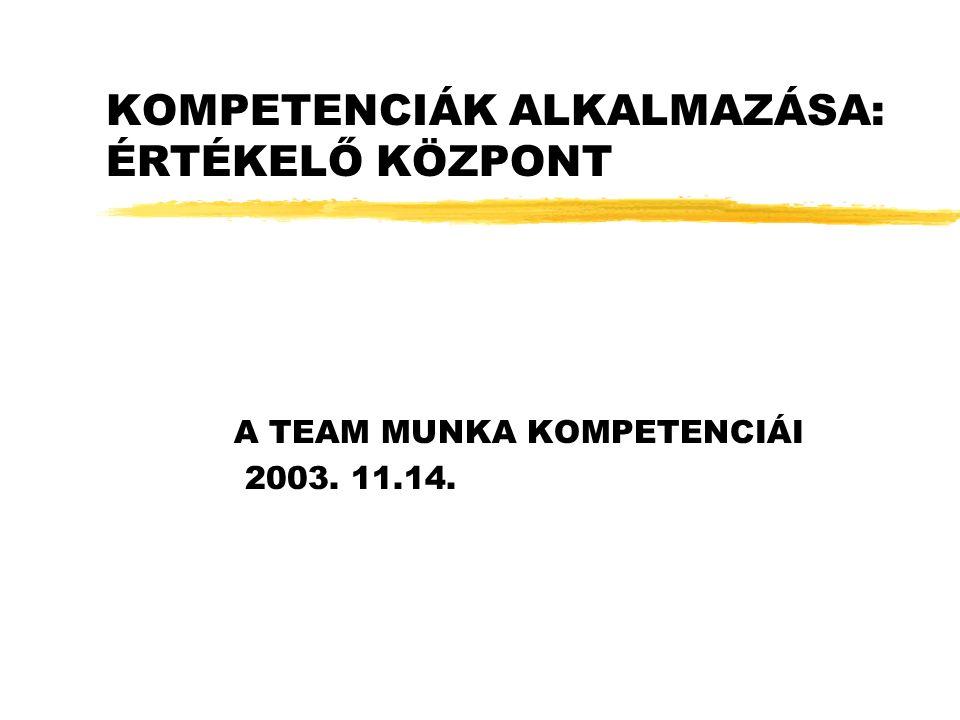 KOMPETENCIÁK ALKALMAZÁSA: ÉRTÉKELŐ KÖZPONT A TEAM MUNKA KOMPETENCIÁI 2003. 11.14.