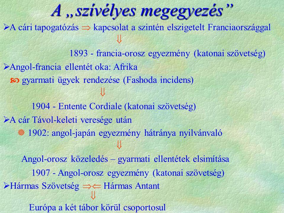 """A """"szívélyes megegyezés  A cári tapogatózás  kapcsolat a szintén elszigetelt Franciaországgal  1893 - francia-orosz egyezmény (katonai szövetség)  Angol-francia ellentét oka: Afrika  gyarmati ügyek rendezése (Fashoda incidens)  1904 - Entente Cordiale (katonai szövetség)  A cár Távol-keleti veresége után  1902: angol-japán egyezmény hátránya nyilvánvaló  Angol-orosz közeledés – gyarmati ellentétek elsimítása 1907 - Angol-orosz egyezmény (katonai szövetség)  Hármas Szövetség  Hármas Antant  Európa a két tábor körül csoportosul"""