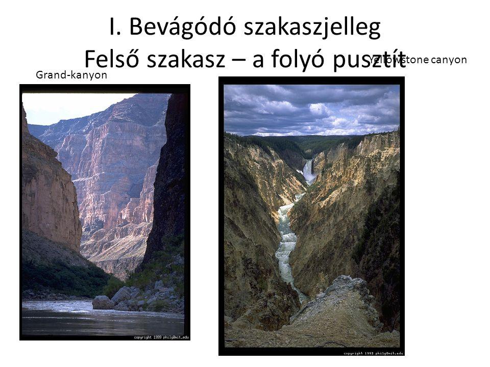 """Jellemzők A folyó munkavégző képessége nagyobb mint az """"elvégzendő munka (a hordalék elszállítása) - Elszállítja az összes hordalékot - Jellegzetes V alakú völgyet váj (keményebb kőzetben meredekebb oldal – canyon – szurdokvölgy) Visegrádi szoros"""