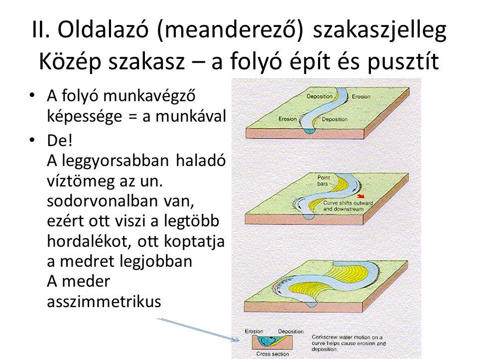 II. Oldalazó (meanderező) szakaszjelleg Közép szakasz – a folyó épít és pusztít A folyó munkavégző képessége = a munkával De! A leggyorsabban haladó v