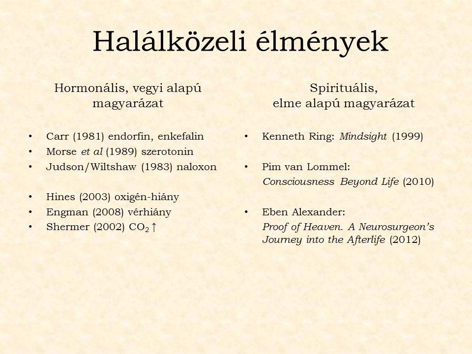 Hormonális, vegyi alapú magyarázat Carr (1981) endorfin, enkefalin Morse et al (1989) szerotonin Judson/Wiltshaw (1983) naloxon Hines (2003) oxigén-hi