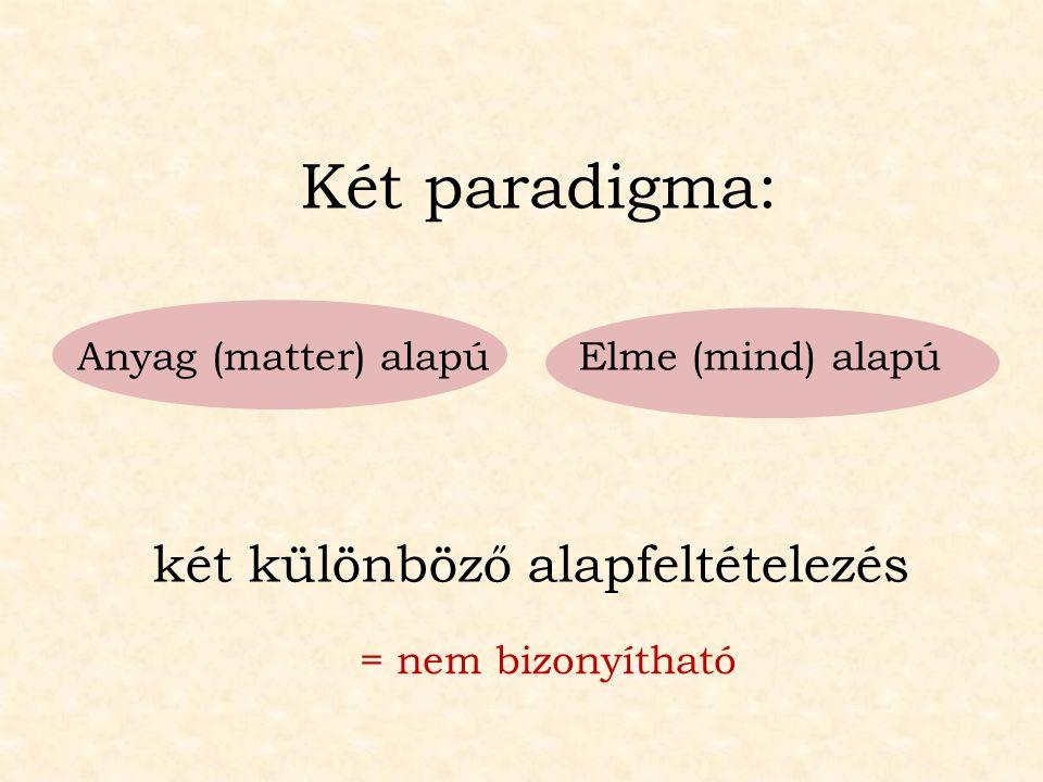 két különböző alapfeltételezés Anyag (matter) alapúElme (mind) alapú Két paradigma: = nem bizonyítható