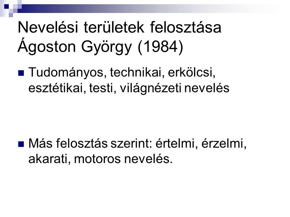 Nevelési területek felosztása Ágoston György (1984) Tudományos, technikai, erkölcsi, esztétikai, testi, világnézeti nevelés Más felosztás szerint: értelmi, érzelmi, akarati, motoros nevelés.