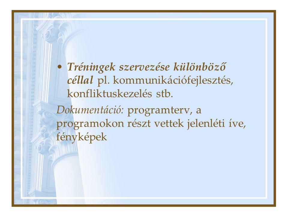 Tréningek szervezése különböző céllal pl. kommunikációfejlesztés, konfliktuskezelés stb.
