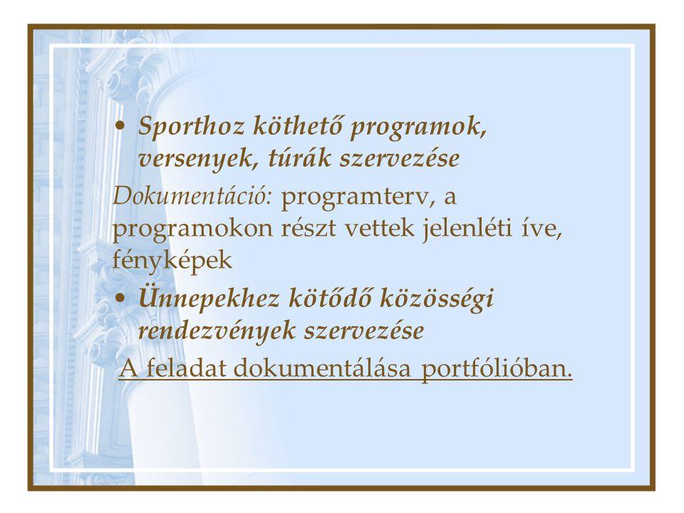 Sporthoz köthető programok, versenyek, túrák szervezése Dokumentáció: programterv, a programokon részt vettek jelenléti íve, fényképek Ünnepekhez kötődő közösségi rendezvények szervezése A feladat dokumentálása portfólióban.