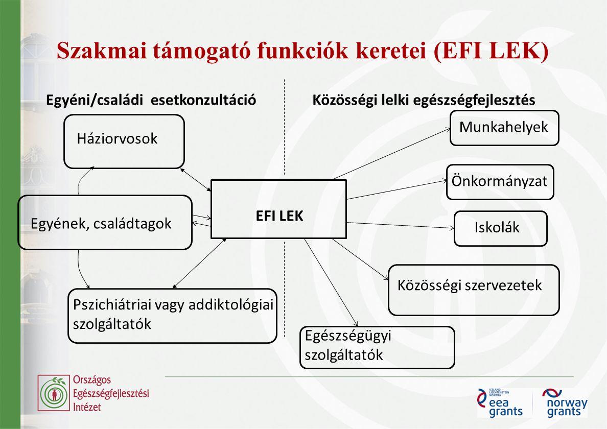 Szakmai támogató funkciók keretei (EFI LEK) EFI LEK Egyéni/családi esetkonzultációKözösségi lelki egészségfejlesztés Egyének, családtagok Háziorvosok Pszichiátriai vagy addiktológiai szolgáltatók Munkahelyek Önkormányzat Egészségügyi szolgáltatók Közösségi szervezetek Iskolák