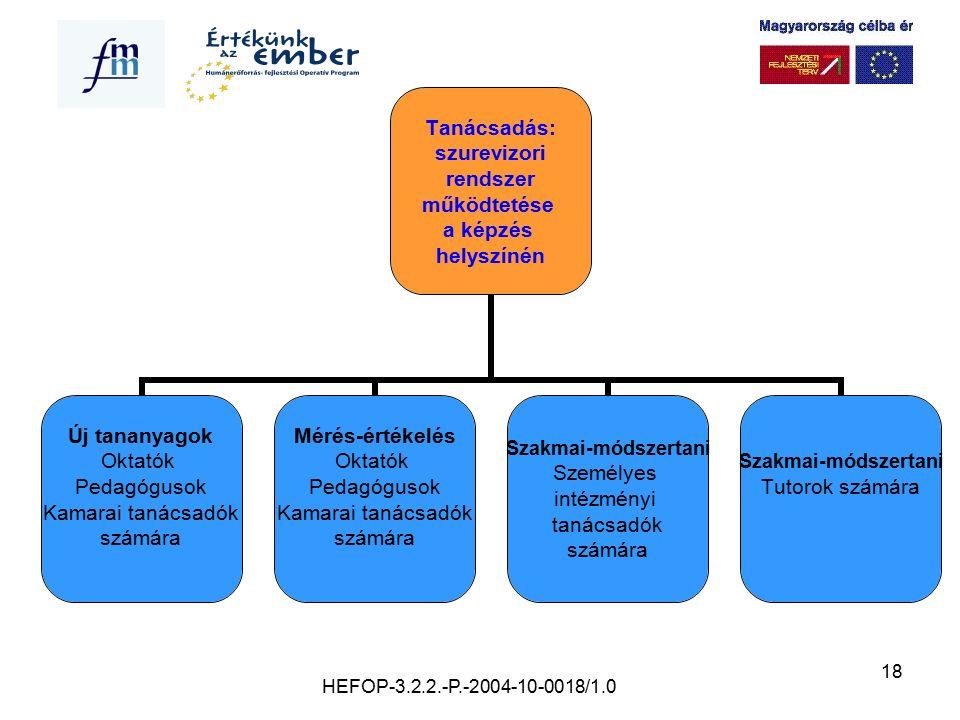 18 Tanácsadás: szurevizori rendszer működtetése a képzés helyszínén Új tananyagok Oktatók Pedagógusok Kamarai tanácsadók számára Mérés-értékelés Oktat