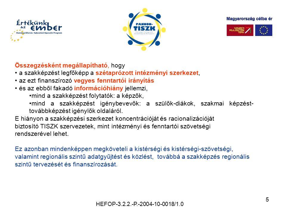 5 HEFOP-3.2.2.-P.-2004-10-0018/1.0 Összegzésként megállapítható, hogy a szakképzést legfőképp a szétaprózott intézményi szerkezet, az ezt finanszírozó