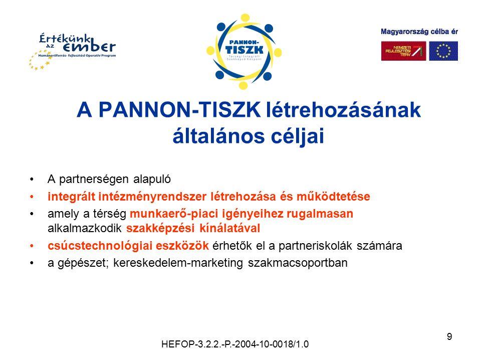 9 A PANNON-TISZK létrehozásának általános céljai A partnerségen alapuló integrált intézményrendszer létrehozása és működtetése amely a térség munkaerő
