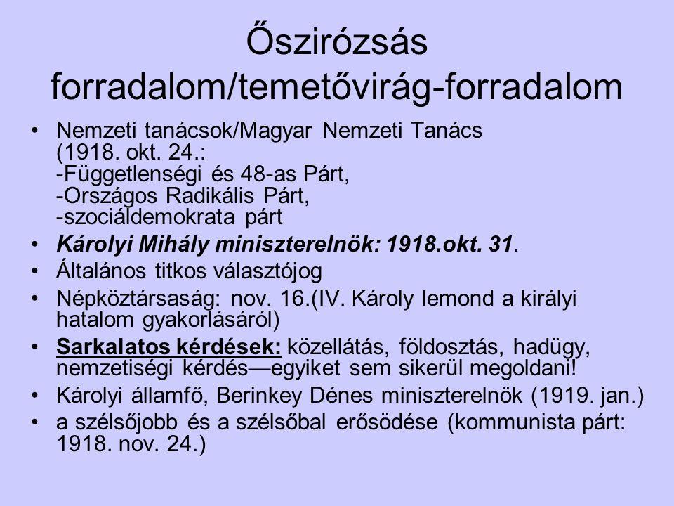 Őszirózsás forradalom/temetővirág-forradalom Nemzeti tanácsok/Magyar Nemzeti Tanács (1918.