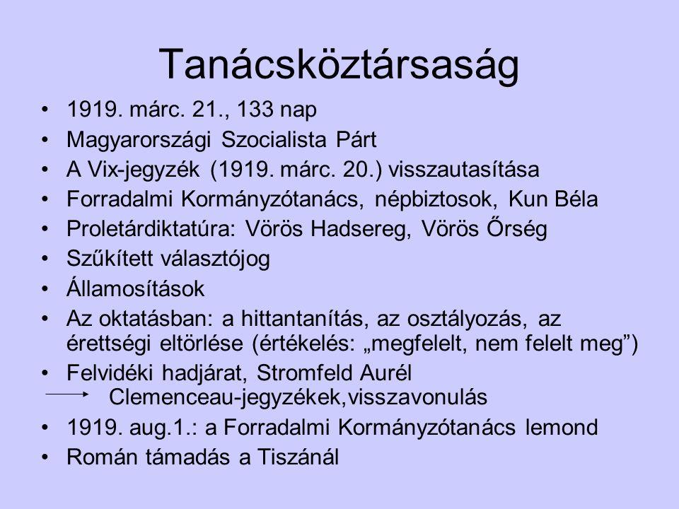 Tanácsköztársaság 1919. márc. 21., 133 nap Magyarországi Szocialista Párt A Vix-jegyzék (1919.