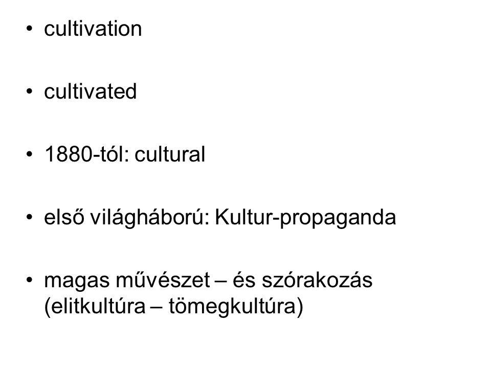 cultivation cultivated 1880-tól: cultural első világháború: Kultur-propaganda magas művészet – és szórakozás (elitkultúra – tömegkultúra)
