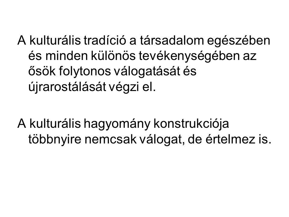 A kulturális tradíció a társadalom egészében és minden különös tevékenységében az ősök folytonos válogatását és újrarostálását végzi el.