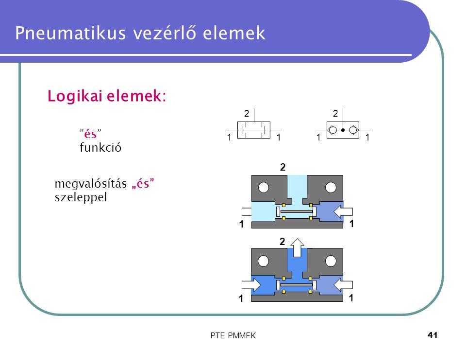 """PTE PMMFK41 Pneumatikus vezérlő elemek Logikai elemek: és funkció megvalósítás """"és szeleppel 11 2 11 2 1 1 2 1 1 2"""