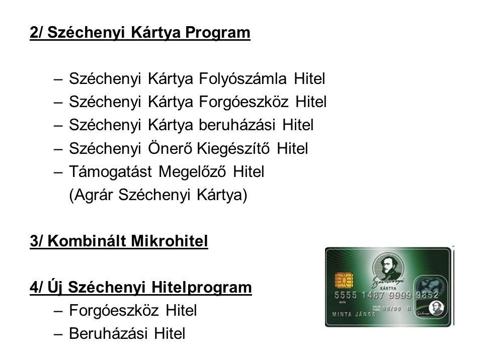 2/ Széchenyi Kártya Program –Széchenyi Kártya Folyószámla Hitel –Széchenyi Kártya Forgóeszköz Hitel –Széchenyi Kártya beruházási Hitel –Széchenyi Önerő Kiegészítő Hitel –Támogatást Megelőző Hitel (Agrár Széchenyi Kártya) 3/ Kombinált Mikrohitel 4/ Új Széchenyi Hitelprogram –Forgóeszköz Hitel –Beruházási Hitel