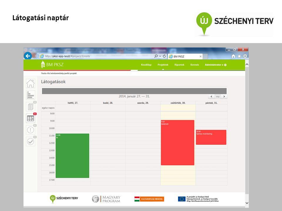A projekt az Európai Unió támogatásával, az Európai Szociális Alap társfinanszírozásával valósul meg Látogatási naptár
