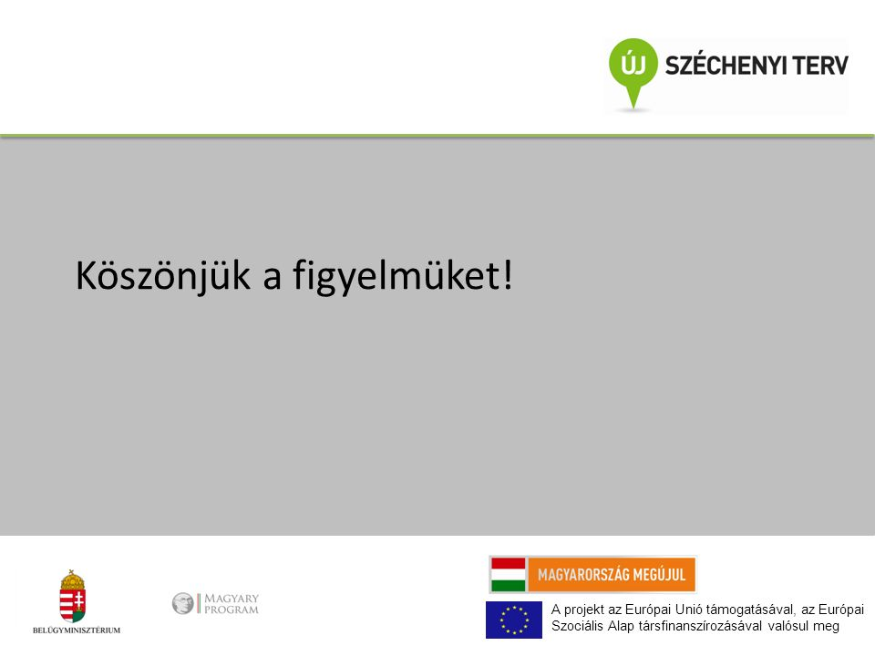 A projekt az Európai Unió támogatásával, az Európai Szociális Alap társfinanszírozásával valósul meg Köszönjük a figyelmüket!