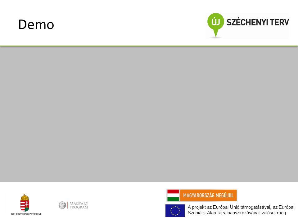 A projekt az Európai Unió támogatásával, az Európai Szociális Alap társfinanszírozásával valósul meg Demo