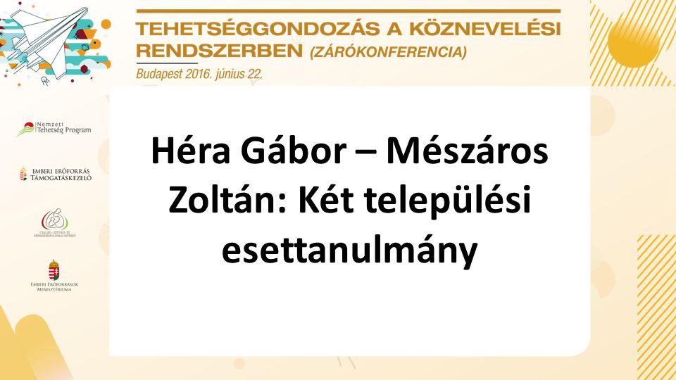 Héra Gábor – Mészáros Zoltán: Két települési esettanulmány