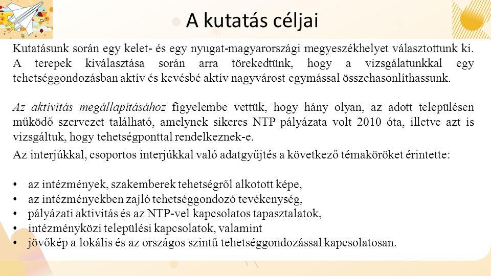 Kutatásunk során egy kelet- és egy nyugat-magyarországi megyeszékhelyet választottunk ki. A terepek kiválasztása során arra törekedtünk, hogy a vizsgá