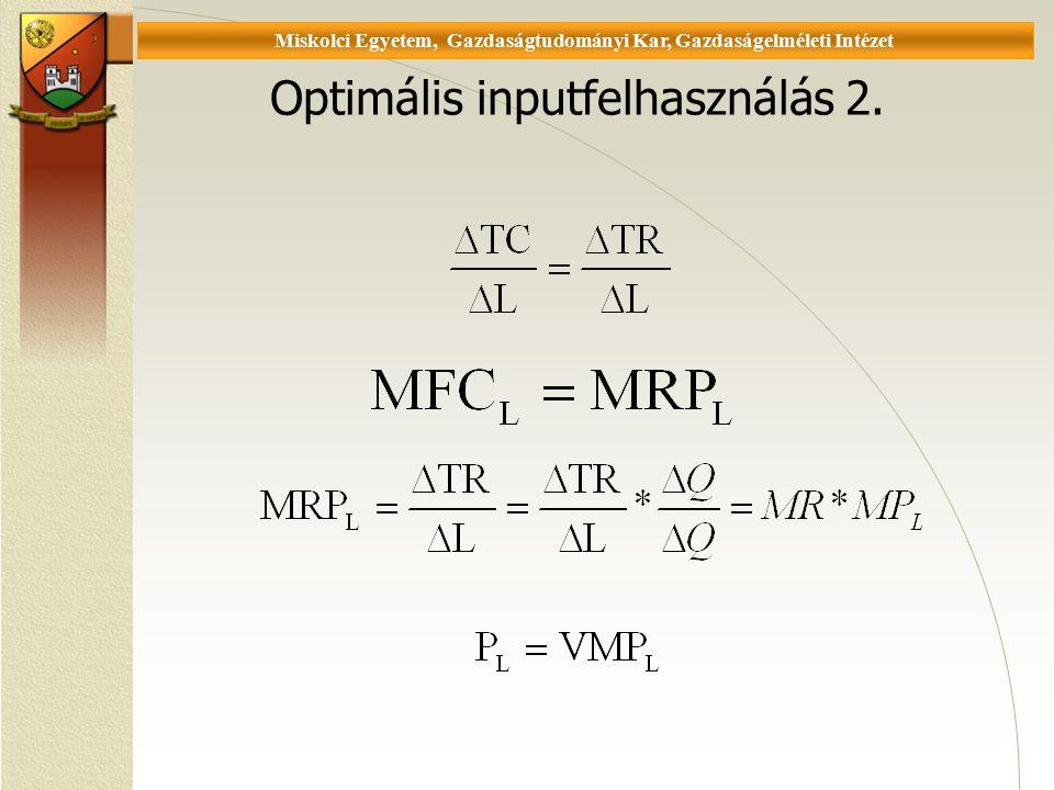 Universität Miskolc, Fakultät für Wirtschaftswissenschaften, Institut für Wirtschaftstheorie Optimális inputfelhasználás 2.