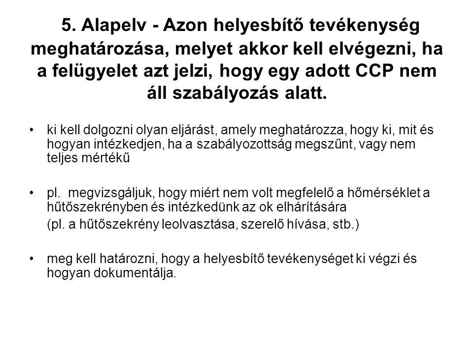 5. Alapelv - Azon helyesbítő tevékenység meghatározása, melyet akkor kell elvégezni, ha a felügyelet azt jelzi, hogy egy adott CCP nem áll szabályozás