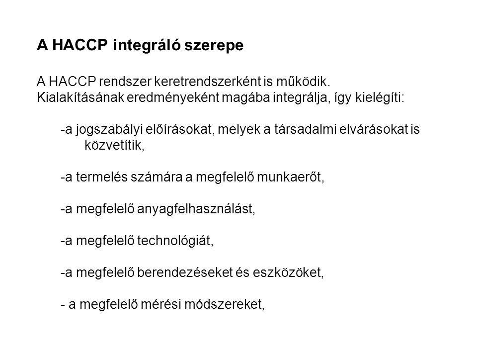 HEFOP 3.3.1. A HACCP integráló szerepe A HACCP rendszer keretrendszerként is működik.