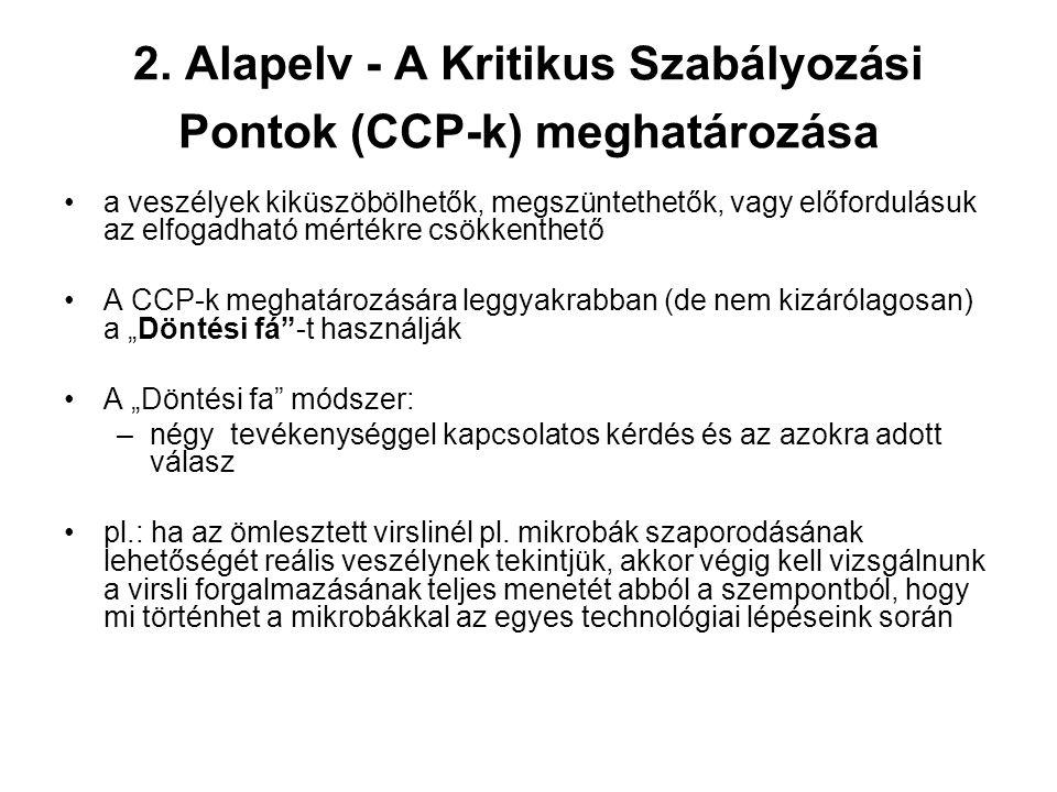 2. Alapelv - A Kritikus Szabályozási Pontok (CCP-k) meghatározása a veszélyek kiküszöbölhetők, megszüntethetők, vagy előfordulásuk az elfogadható mért