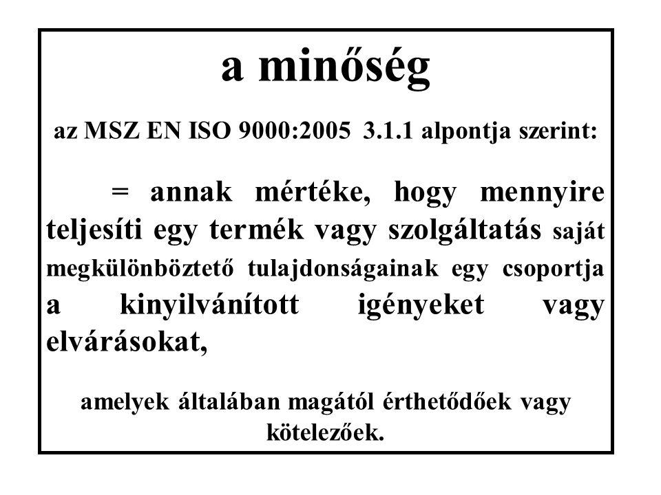 a minőség az MSZ EN ISO 9000:2005 3.1.1 alpontja szerint: = annak mértéke, hogy mennyire teljesíti egy termék vagy szolgáltatás saját megkülönböztető tulajdonságainak egy csoportja a kinyilvánított igényeket vagy elvárásokat, amelyek általában magától érthetődőek vagy kötelezőek.