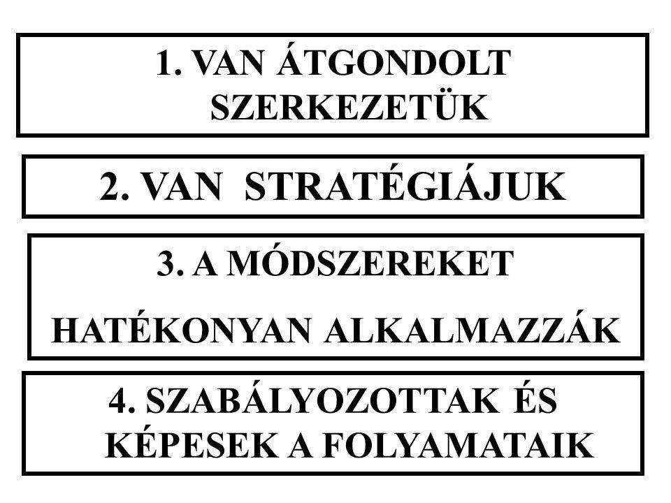 1. VAN ÁTGONDOLT SZERKEZETÜK 2. VAN STRATÉGIÁJUK 3. A MÓDSZEREKET HATÉKONYAN ALKALMAZZÁK 4. SZABÁLYOZOTTAK ÉS KÉPESEK A FOLYAMATAIK