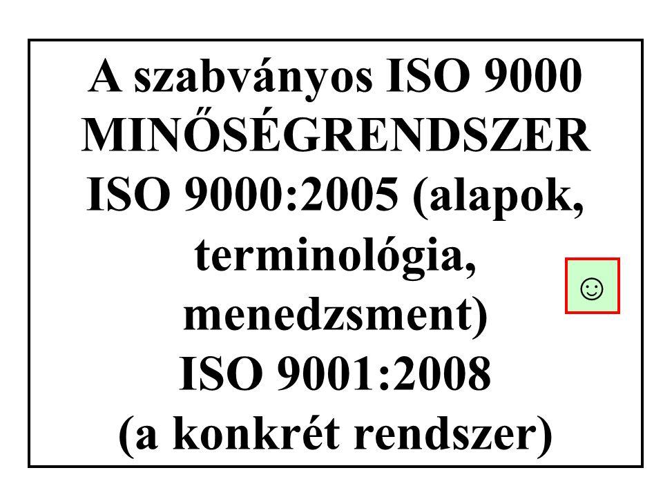 A szabványos ISO 9000 MINŐSÉGRENDSZER ISO 9000:2005 (alapok, terminológia, menedzsment) ISO 9001:2008 (a konkrét rendszer) ☺