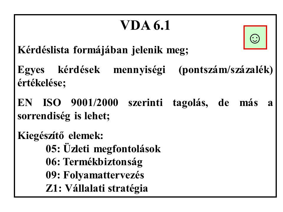 VDA 6.1 Kérdéslista formájában jelenik meg; Egyes kérdések mennyiségi (pontszám/százalék) értékelése; EN ISO 9001/2000 szerinti tagolás, de más a sorrendiség is lehet; Kiegészítő elemek: 05: Üzleti megfontolások 06: Termékbiztonság 09: Folyamattervezés Z1: Vállalati stratégia ☺
