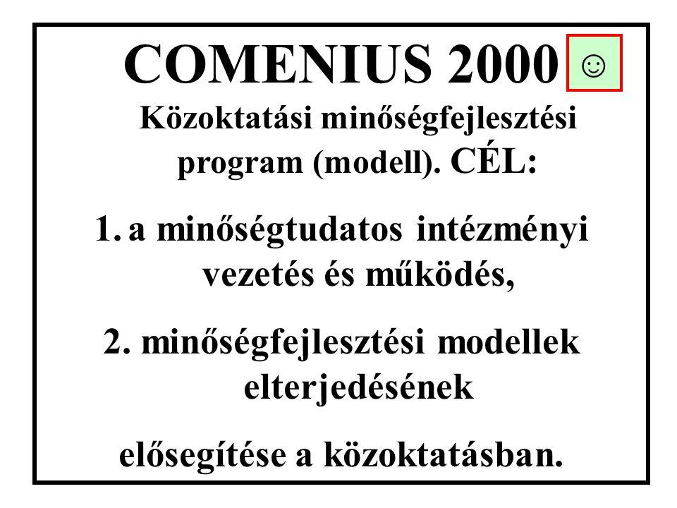 COMENIUS 2000 Közoktatási minőségfejlesztési program (modell). CÉL: 1.a minőségtudatos intézményi vezetés és működés, 2. minőségfejlesztési modellek e
