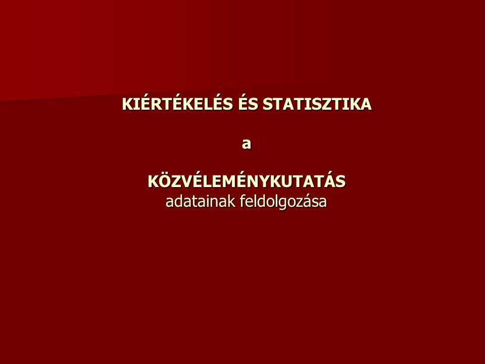 KIÉRTÉKELÉS ÉS STATISZTIKA a KÖZVÉLEMÉNYKUTATÁS adatainak feldolgozása