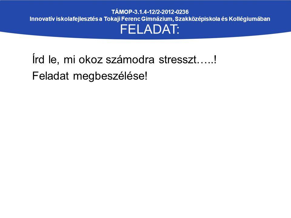 Írd le, mi okoz számodra stresszt…..! Feladat megbeszélése! TÁMOP-3.1.4-12/2-2012-0236 Innovatív iskolafejlesztés a Tokaji Ferenc Gimnázium, Szakközép