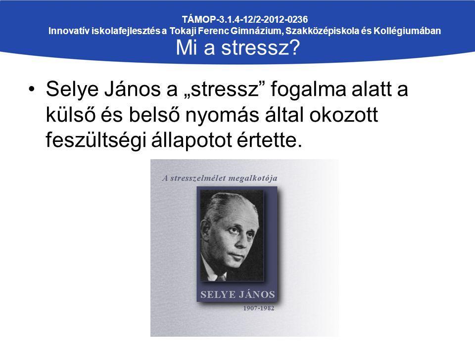 """Selye János a """"stressz"""" fogalma alatt a külső és belső nyomás által okozott feszültségi állapotot értette. TÁMOP-3.1.4-12/2-2012-0236 Innovatív iskola"""
