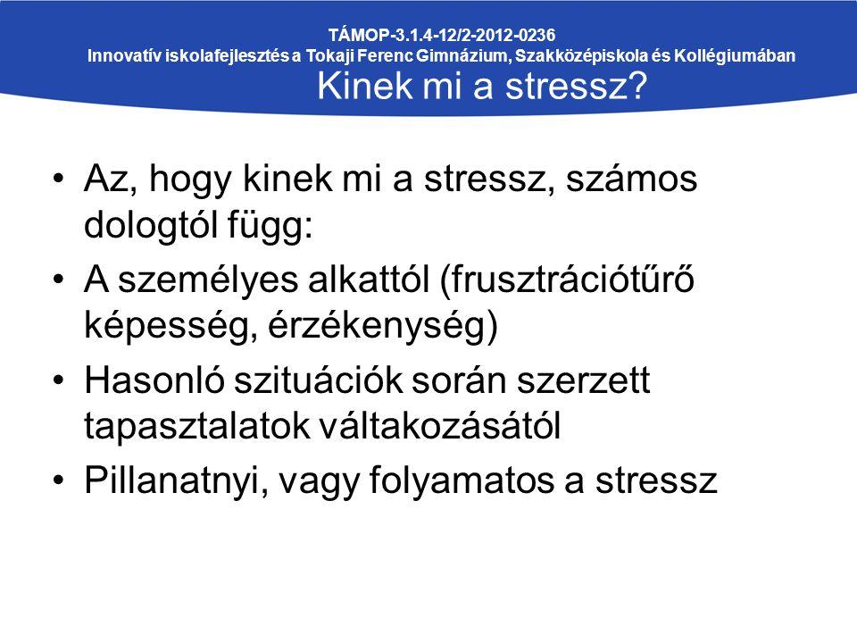 Az, hogy kinek mi a stressz, számos dologtól függ: A személyes alkattól (frusztrációtűrő képesség, érzékenység) Hasonló szituációk során szerzett tapasztalatok váltakozásától Pillanatnyi, vagy folyamatos a stressz TÁMOP-3.1.4-12/2-2012-0236 Innovatív iskolafejlesztés a Tokaji Ferenc Gimnázium, Szakközépiskola és Kollégiumában Kinek mi a stressz