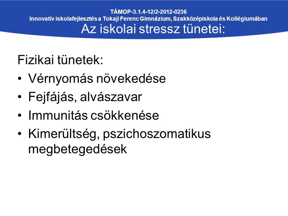 Fizikai tünetek: Vérnyomás növekedése Fejfájás, alvászavar Immunitás csökkenése Kimerültség, pszichoszomatikus megbetegedések TÁMOP-3.1.4-12/2-2012-0236 Innovatív iskolafejlesztés a Tokaji Ferenc Gimnázium, Szakközépiskola és Kollégiumában Az iskolai stressz tünetei:
