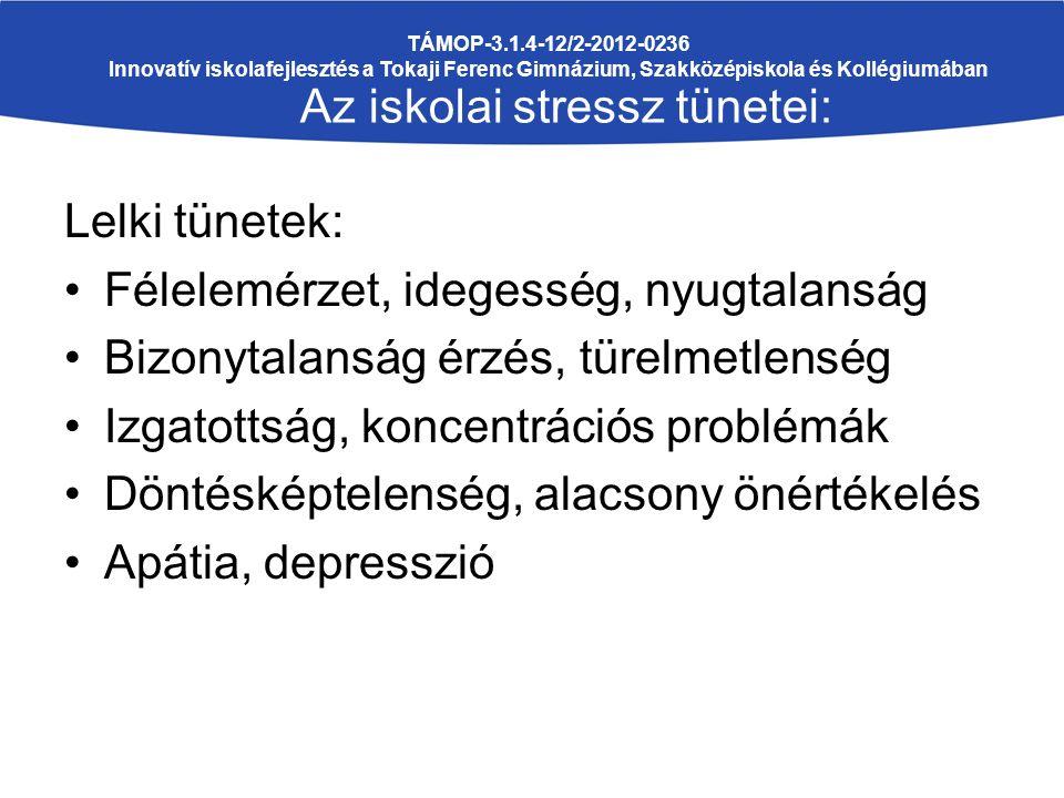 Lelki tünetek: Félelemérzet, idegesség, nyugtalanság Bizonytalanság érzés, türelmetlenség Izgatottság, koncentrációs problémák Döntésképtelenség, alacsony önértékelés Apátia, depresszió TÁMOP-3.1.4-12/2-2012-0236 Innovatív iskolafejlesztés a Tokaji Ferenc Gimnázium, Szakközépiskola és Kollégiumában Az iskolai stressz tünetei: