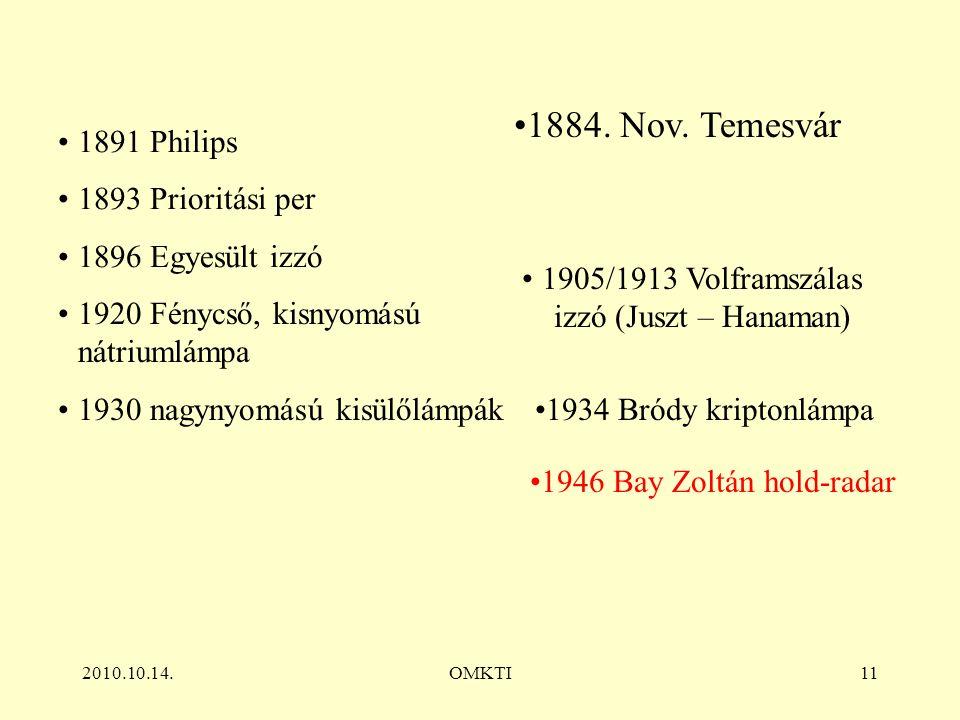 2010.10.14.OMKTI11 1891 Philips 1893 Prioritási per 1896 Egyesült izzó 1920 Fénycső, kisnyomású nátriumlámpa 1930 nagynyomású kisülőlámpák 1905/1913 Volframszálas izzó (Juszt – Hanaman) 1934 Bródy kriptonlámpa 1946 Bay Zoltán hold-radar 1884.