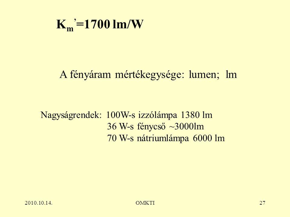 2010.10.14.OMKTI27 A fényáram mértékegysége: lumen; lm Nagyságrendek: 100W-s izzólámpa 1380 lm 36 W-s fénycső ~3000lm 70 W-s nátriumlámpa 6000 lm K m ' =1700 lm/W