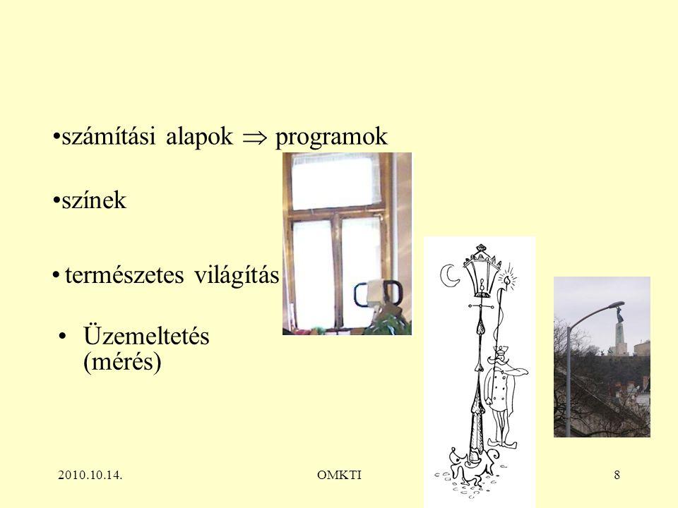 2010.10.14.OMKTI8 Üzemeltetés (mérés) számítási alapok  programok színek természetes világítás