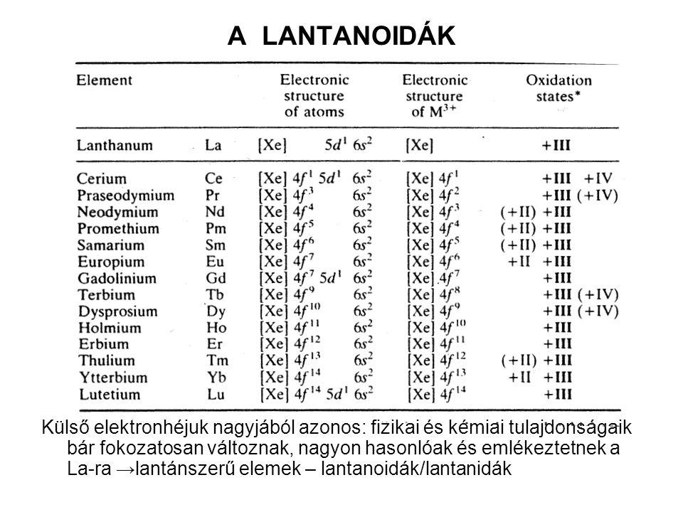 A LANTANOIDÁK Külső elektronhéjuk nagyjából azonos: fizikai és kémiai tulajdonságaik bár fokozatosan változnak, nagyon hasonlóak és emlékeztetnek a La-ra →lantánszerű elemek – lantanoidák/lantanidák