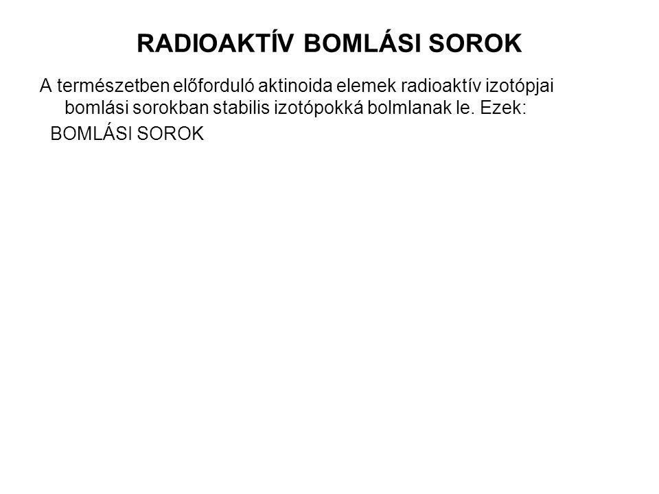 RADIOAKTÍV BOMLÁSI SOROK A természetben előforduló aktinoida elemek radioaktív izotópjai bomlási sorokban stabilis izotópokká bolmlanak le.