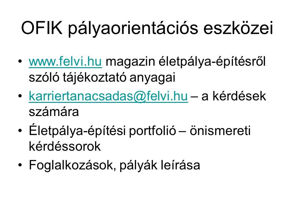 OFIK pályaorientációs eszközei www.felvi.hu magazin életpálya-építésről szóló tájékoztató anyagaiwww.felvi.hu karriertanacsadas@felvi.hu – a kérdések
